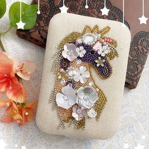 Unicorn beadwork & cloth keepsake jewelry box, cream purple